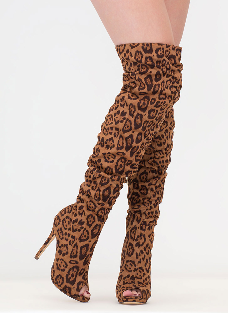 I Slouch Leopard Thigh-High Boots LEOPARD
