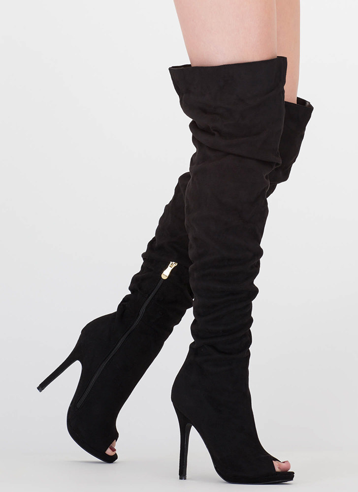I Slouch Faux Suede Thigh-High Boots BLACK