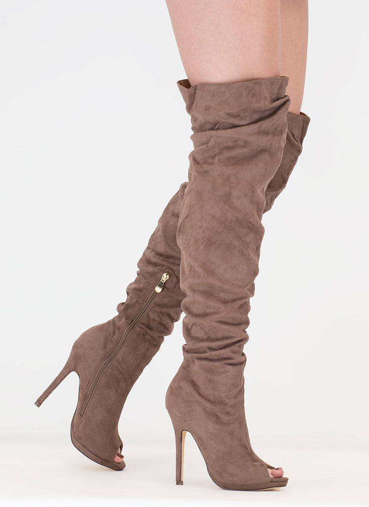 Faux Suede Slouchy Boots TAUPE kkl V9Iuc