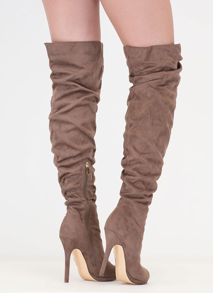 I Slouch Faux Suede Thigh-High Boots TAUPE