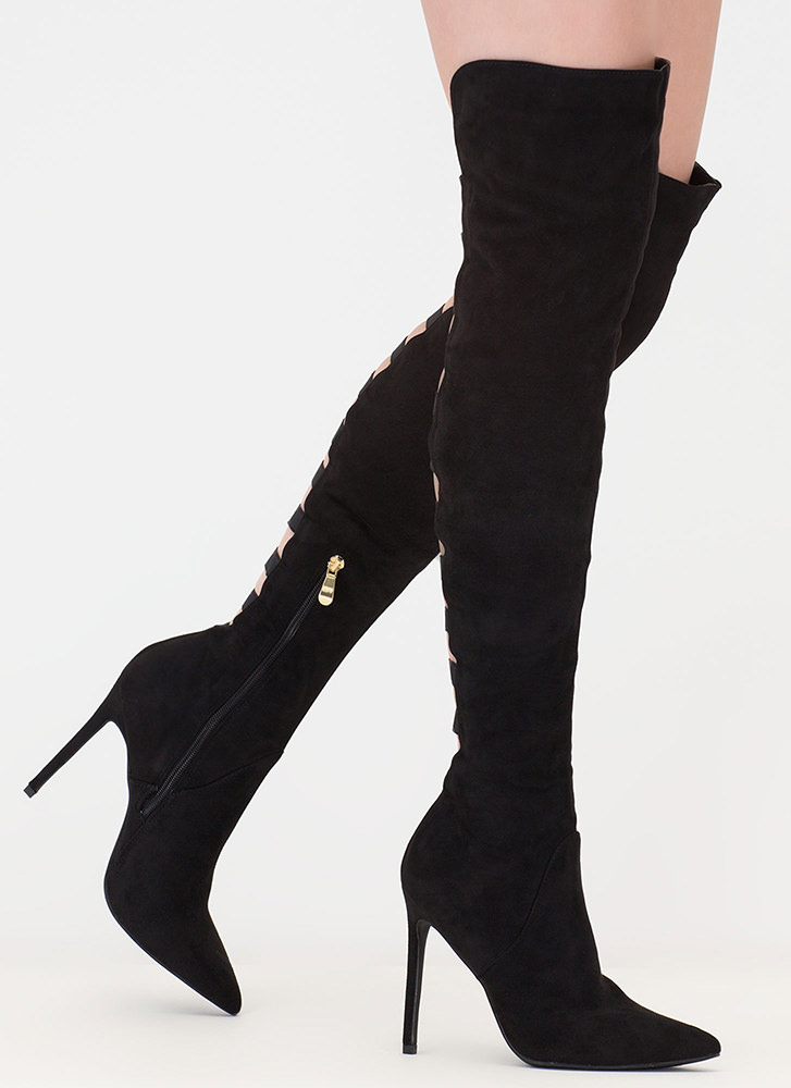 Ladder Up Strappy Thigh-High Boots BLACK