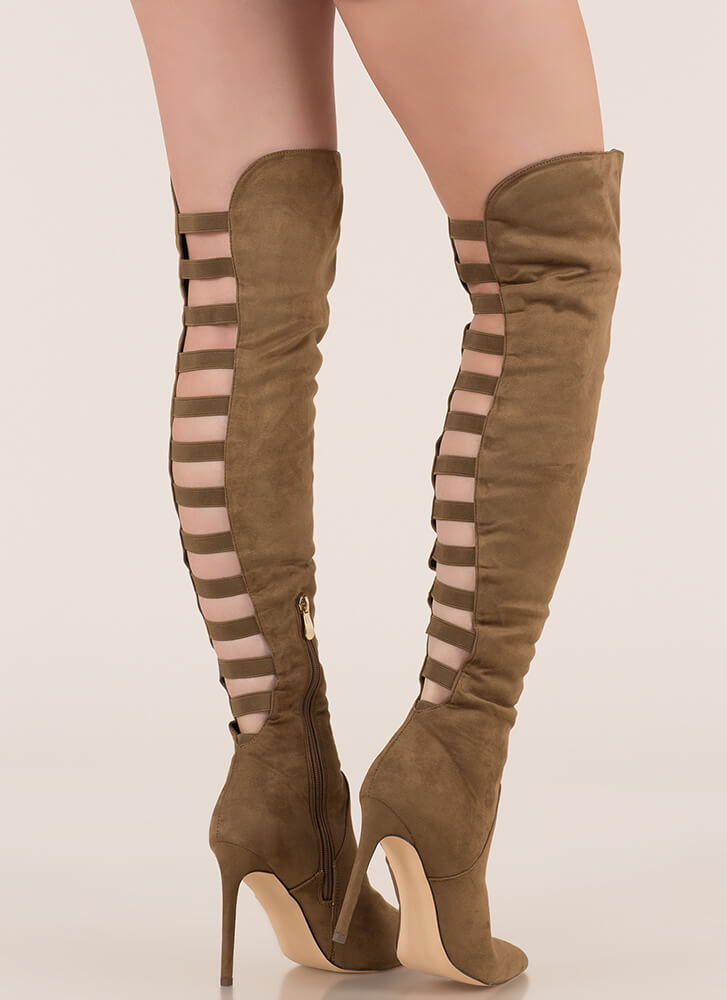 Ladder Up Strappy Thigh-High Boots OLIVE