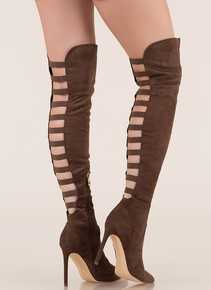 Ladder Up Strappy Thigh-High Boots TAUPE