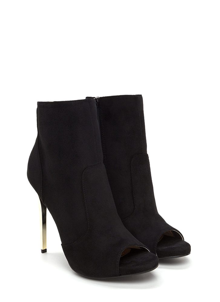 The Right Angle Faux Suede Booties BLACK