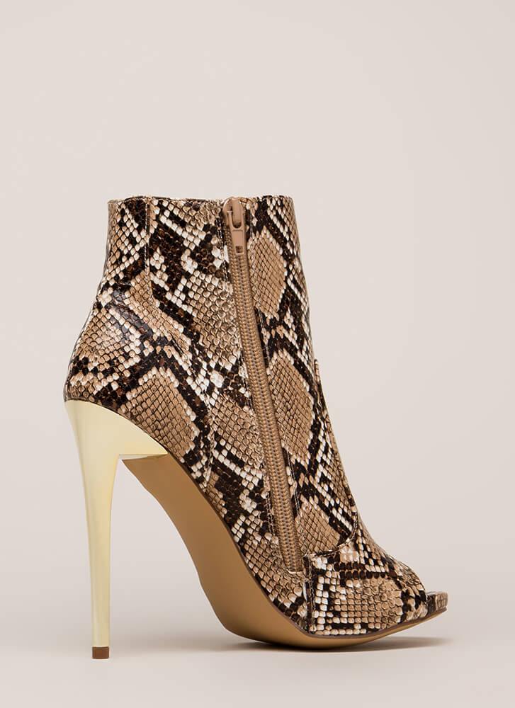 The Right Angle Snake Scale Booties BROWN