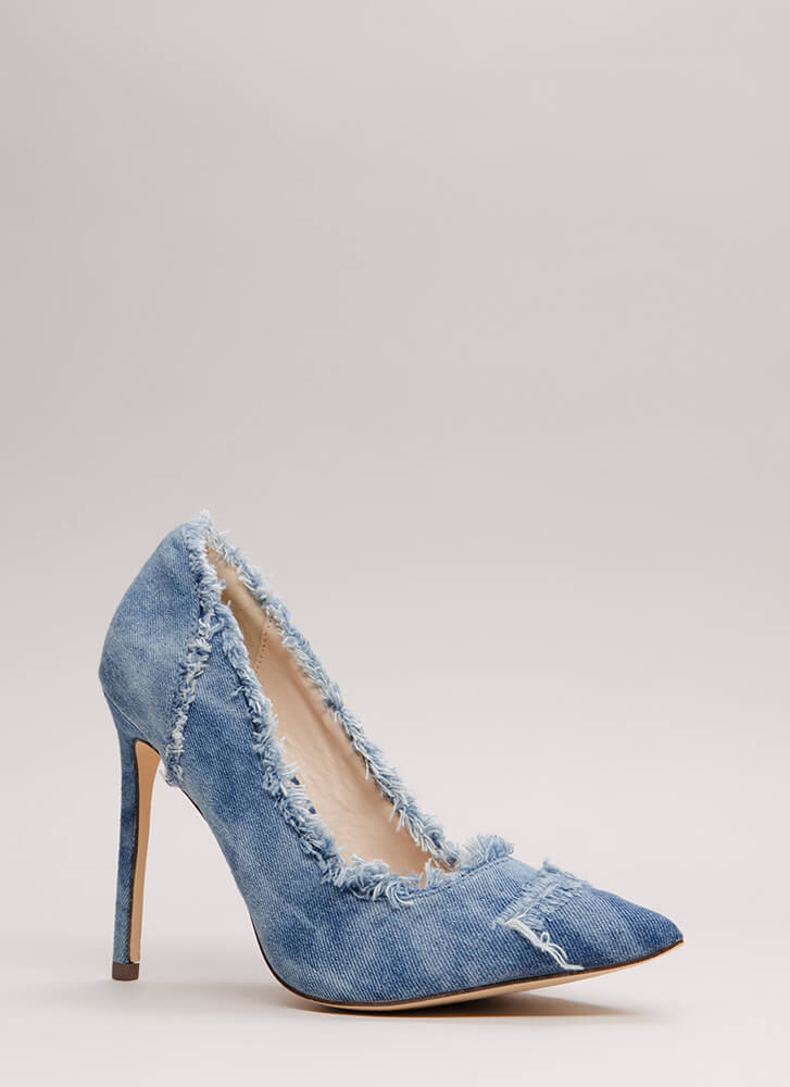 Fray List Pointy Washed Denim Pumps BLUEWASH