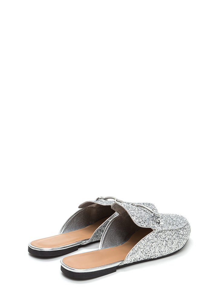 You're Smokin' Glittery Mule Flats SILVER