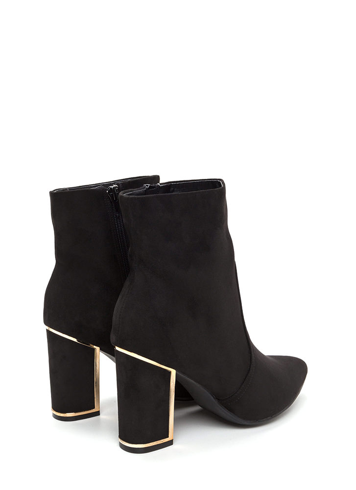 Frame It Pointy Faux Suede Booties BLACK
