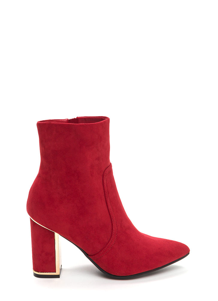 Frame It Pointy Faux Suede Booties RED