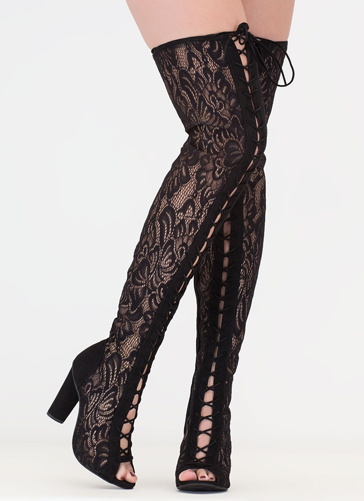 Lace And Lace-Up Thigh-High Boots BLACK