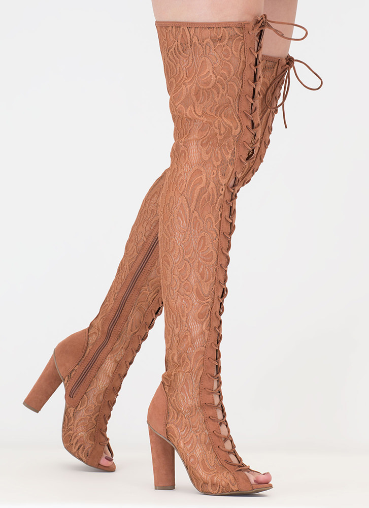 Lace And Lace-Up Thigh-High Boots MOCHA