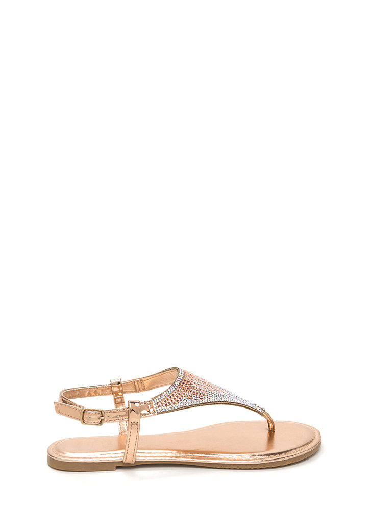Give It A Tri Jeweled Thong Sandals ROSEGOLD