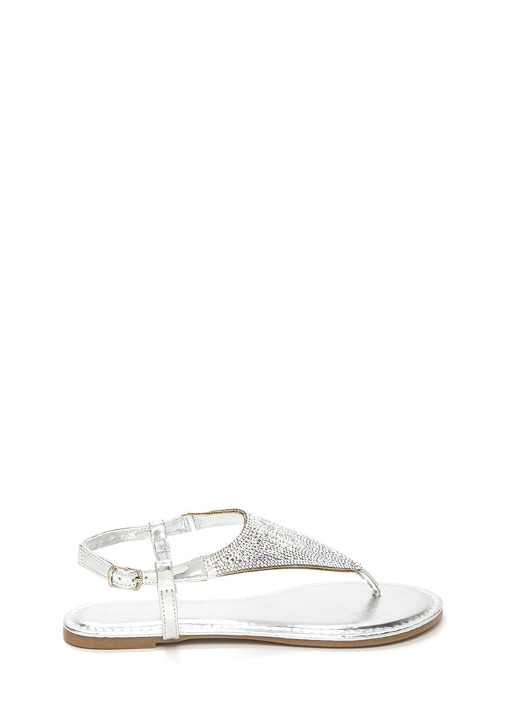 Give It A Tri Jeweled Thong Sandals SILVER