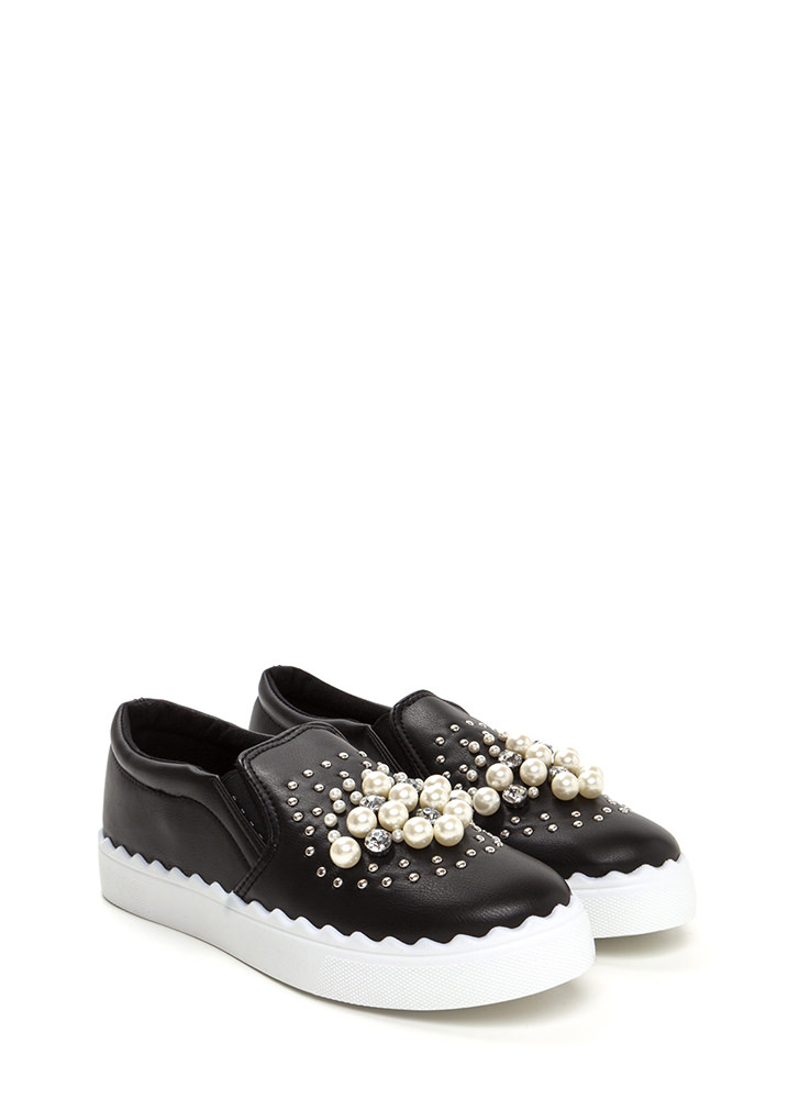 Gems And Pearls Slip-On Sneakers BLACK