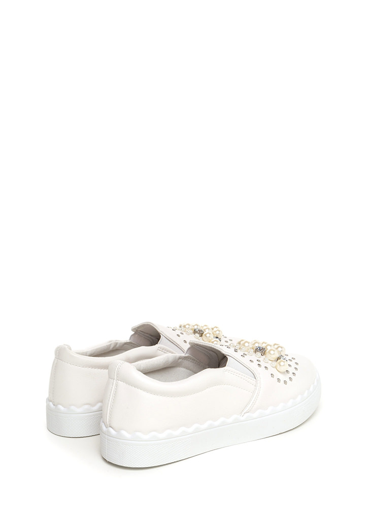Gems And Pearls Slip-On Sneakers WHITE