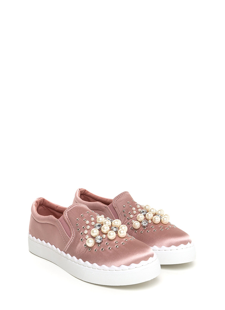 Gems And Pearls Satin Sneakers MAUVE