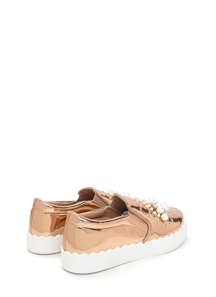 Gems And Pearls Metallic Sneakers ROSEGOLD