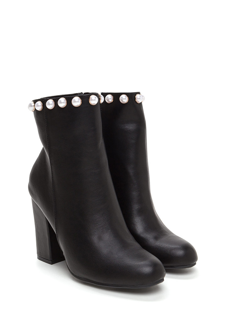 Pearls And Studs Chunky Booties BLACK