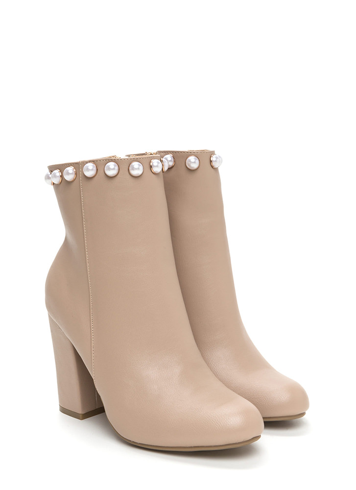 Pearls And Studs Chunky Booties NUDE