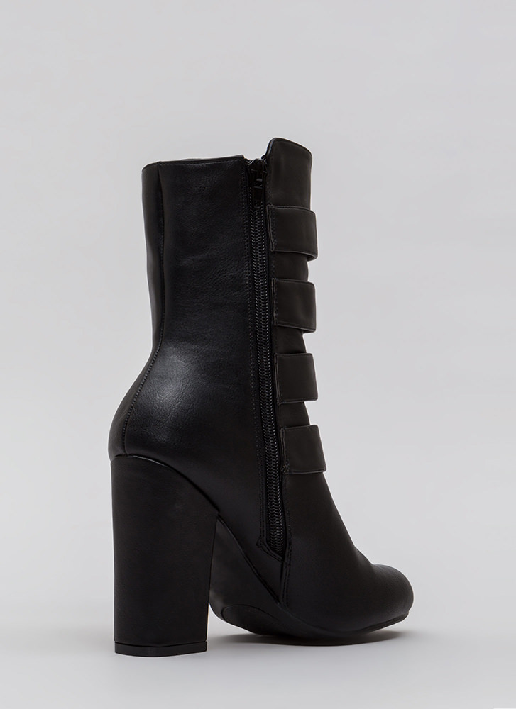 Four The Win Strappy Studded Booties BLACK