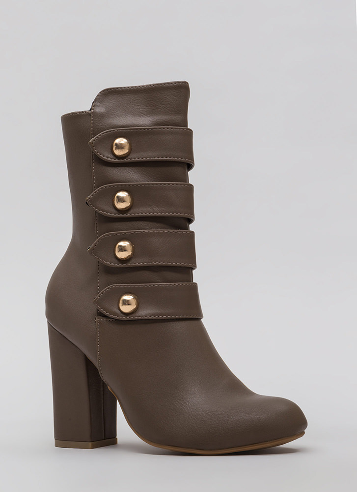 Four The Win Strappy Studded Booties TAUPE