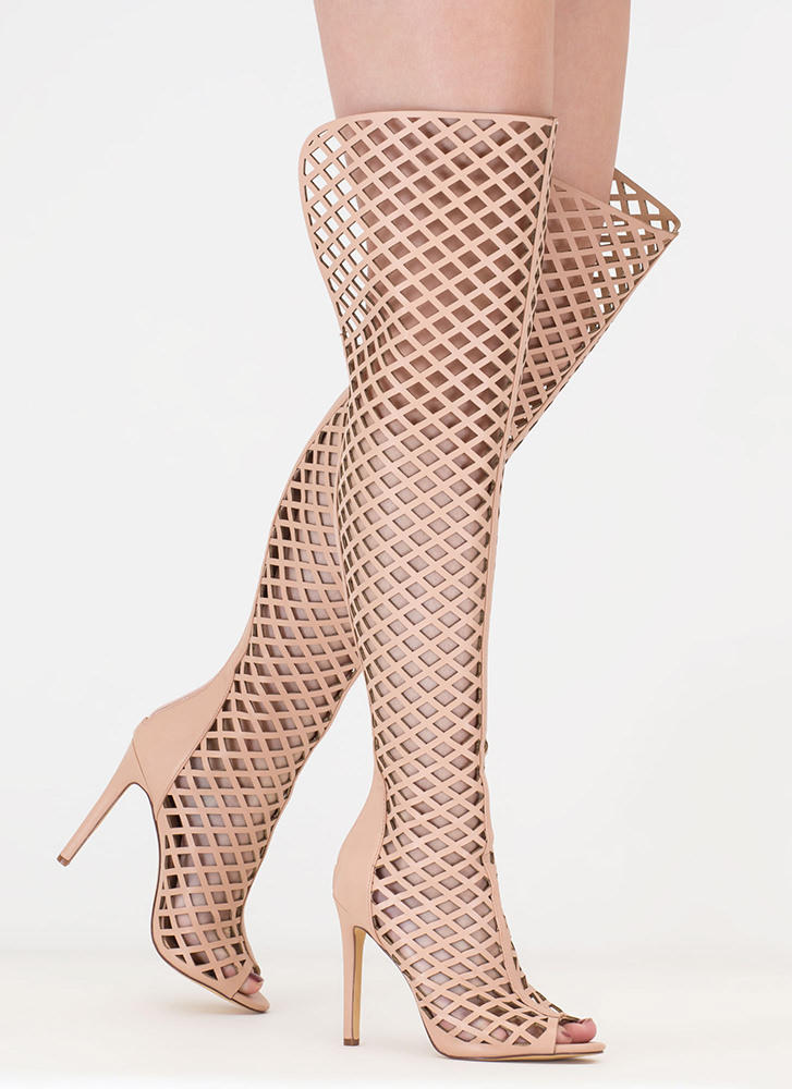 Diamond Hunt Latticed Peep-Toe Boots NUDE