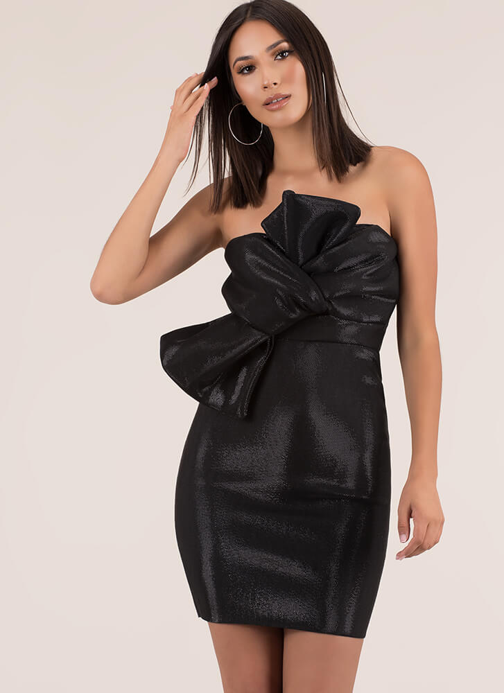 Knot To Worry Sparkly Strapless Dress BLACK