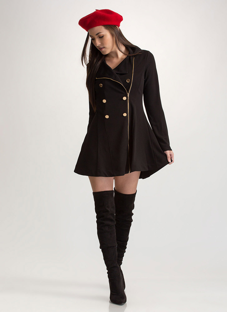 Bundle Up Double Breasted Peacoat BLACK