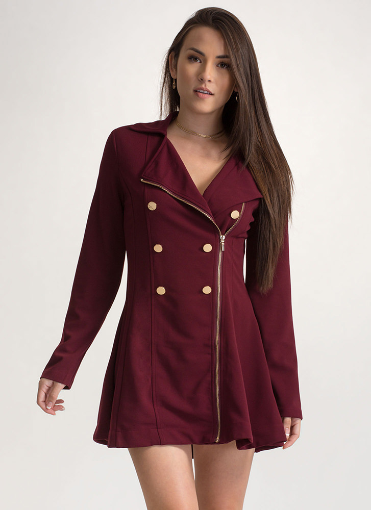 Bundle Up Double Breasted Peacoat BURGUNDY