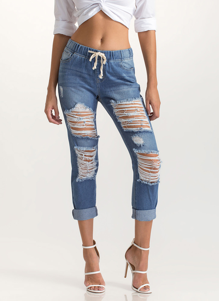 Jean Something Distressed Jogger Pants BLUE