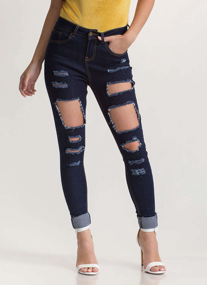 Cuff It Out Distressed Skinny Jeans DKBLUE
