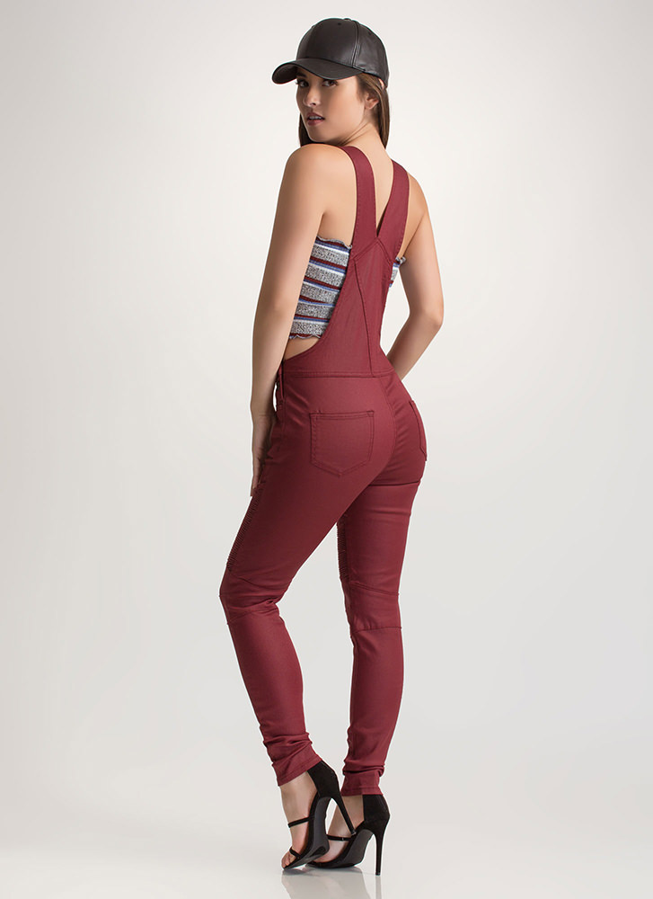 Moto Riding Textured Coated Overalls BURGUNDY