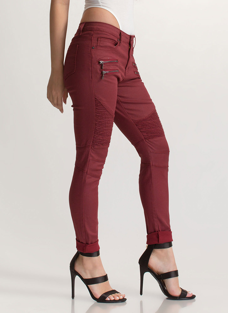 Moto Rider Textured Coated Skinny Jeans BURGUNDY