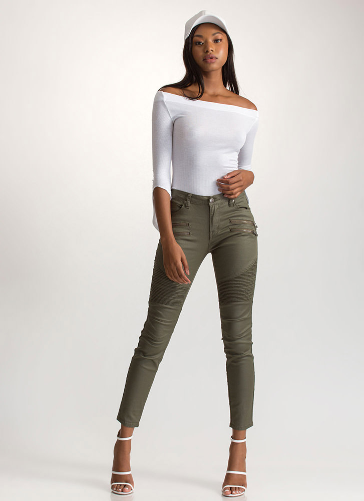 Moto Rider Textured Coated Skinny Jeans OLIVE