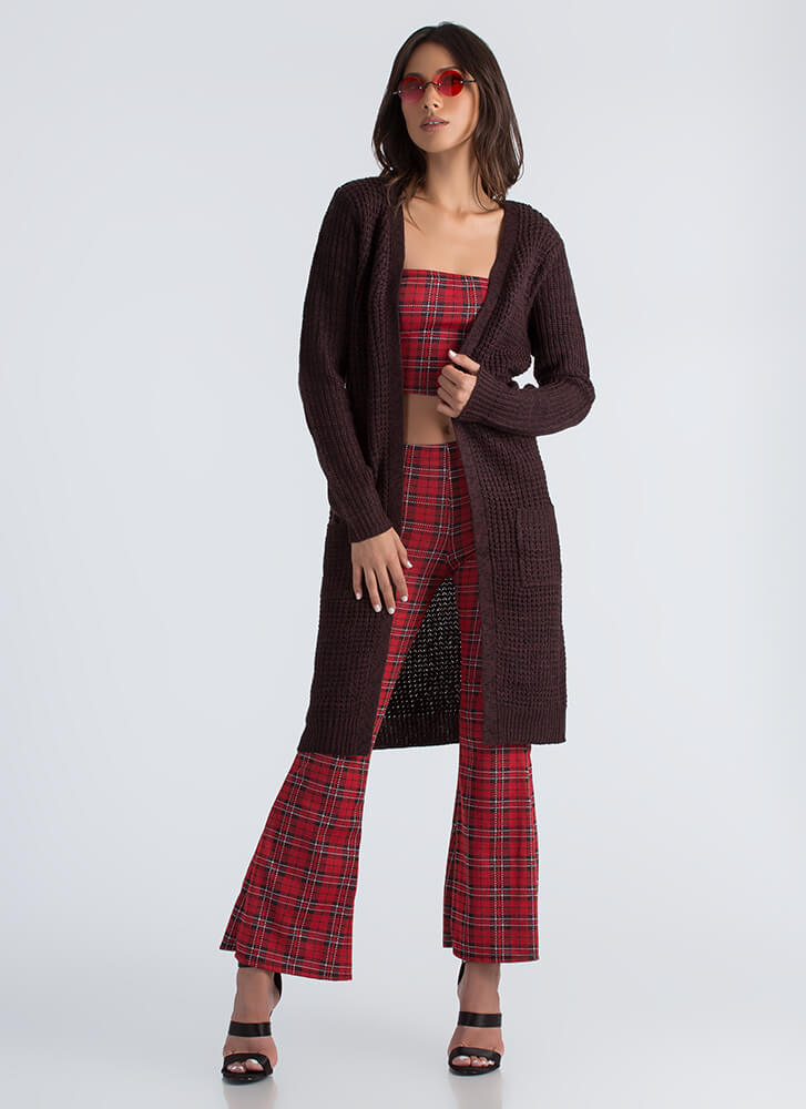 Cozy Day Chunky Knit Duster Cardigan CHOCOLATE