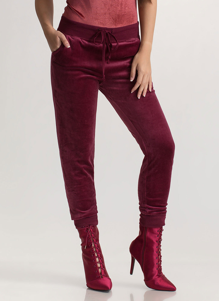 Laid-Back Luxury Velvet Jogger Pants BURGUNDY