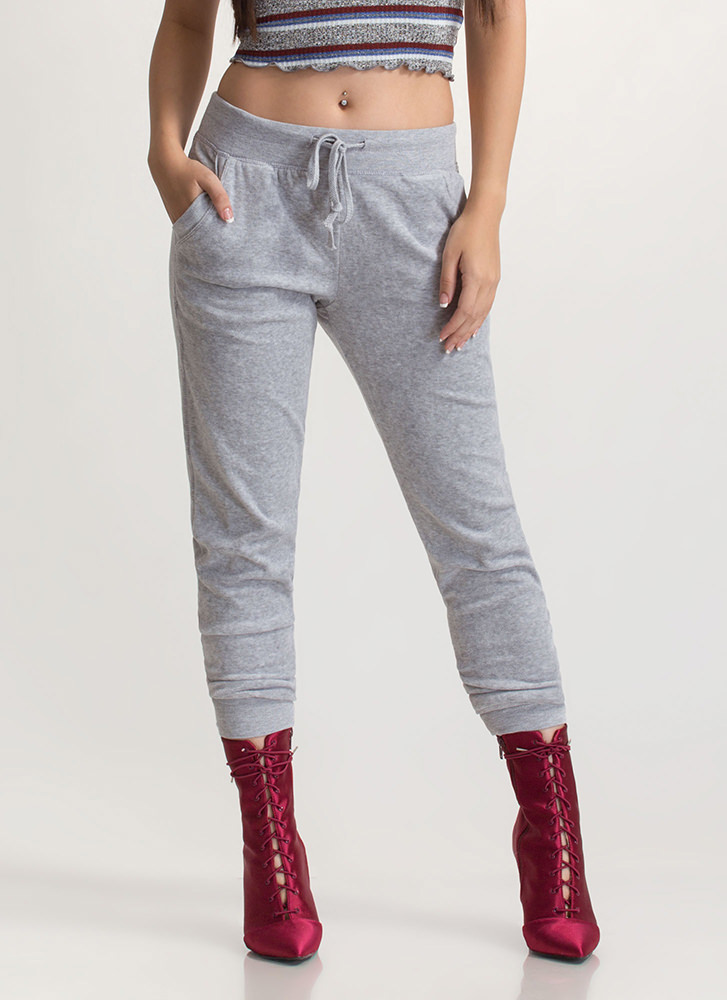 Laid-Back Luxury Velvet Jogger Pants HGREY
