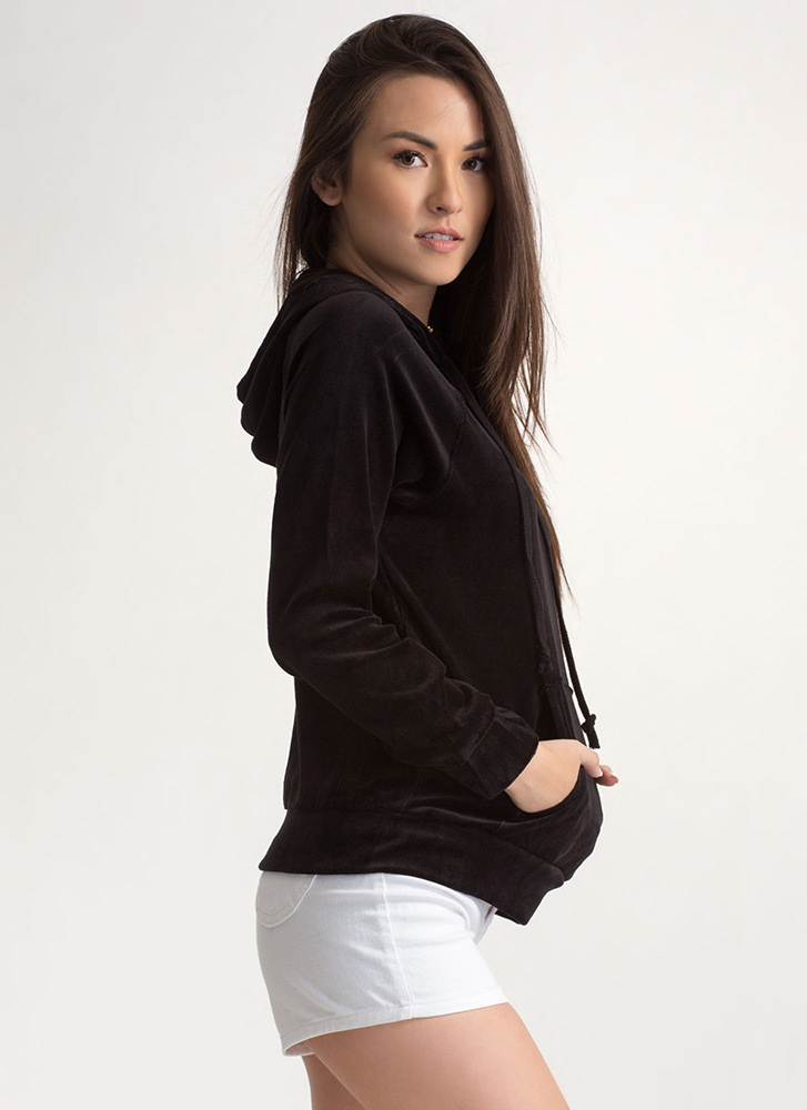 Velvet Wonder Hooded Sweatshirt BLACK