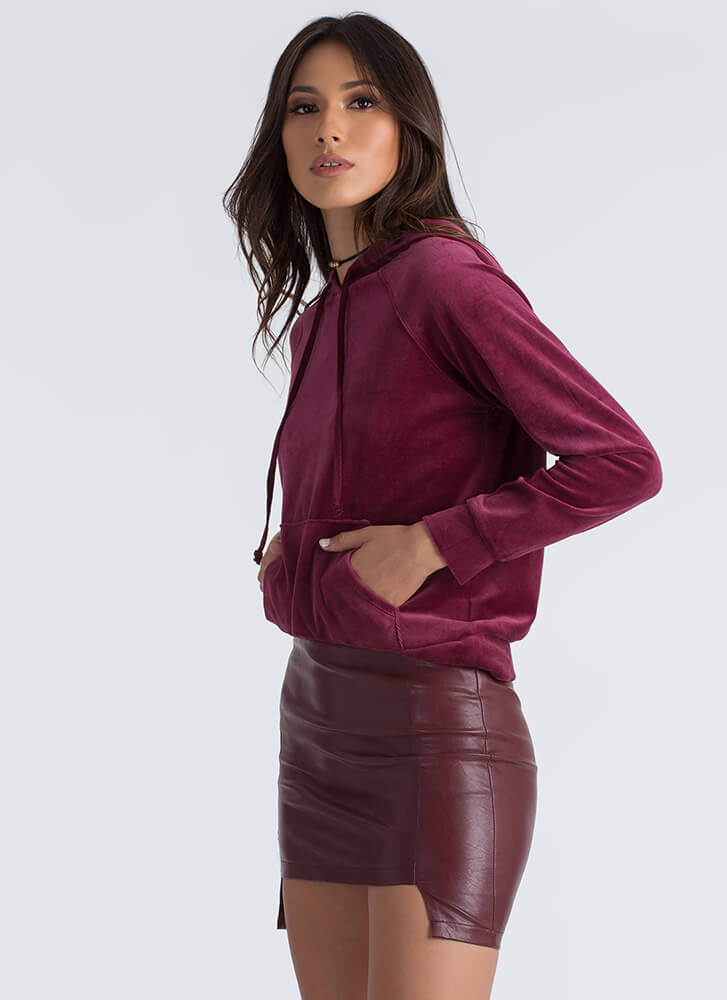 Velvet Wonder Hooded Sweatshirt BURGUNDY
