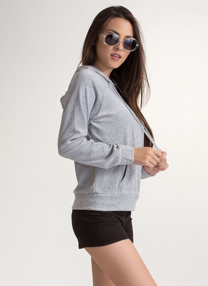 Velvet Wonder Hooded Sweatshirt HGREY