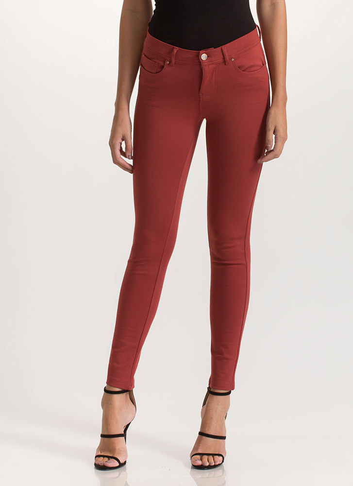 What's The Skinny Ponte Knit Pants MARSALA