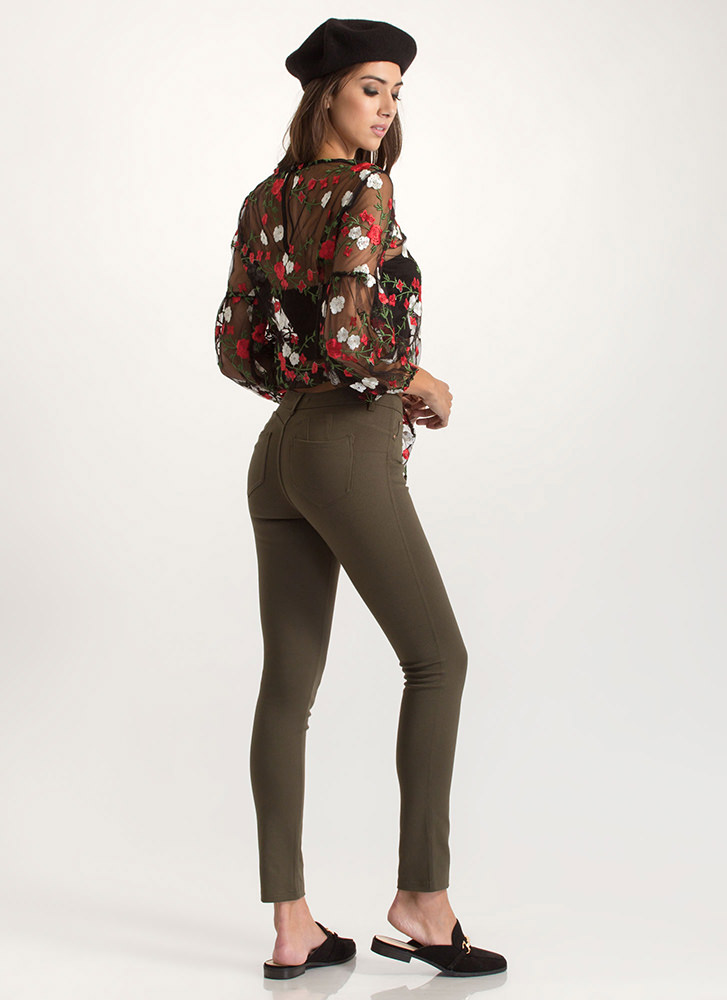 What's The Skinny Ponte Knit Pants OLIVE