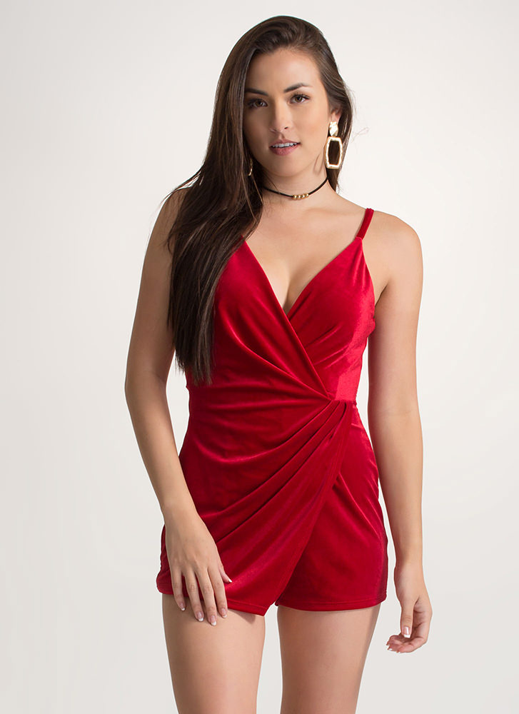 Royal Plush Velvet Skort Romper RED