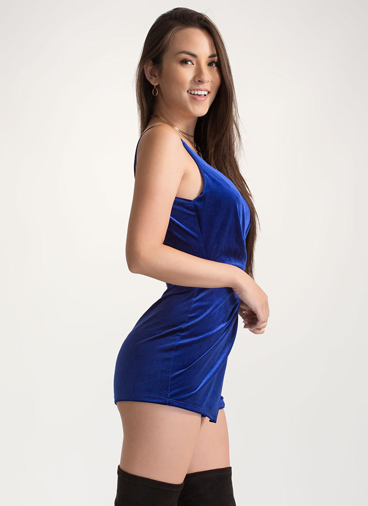 Royal Plush Velvet Skort Romper ROYAL