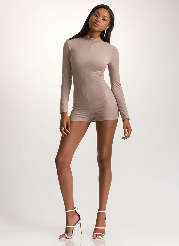 Bring Sexy Back Laced Faux Suede Romper TAUPE