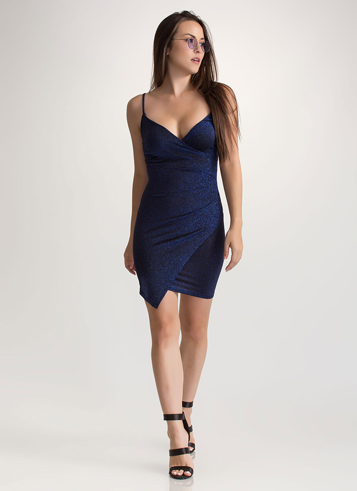 Party On Sparkly Wrap Mini Dress BLUE