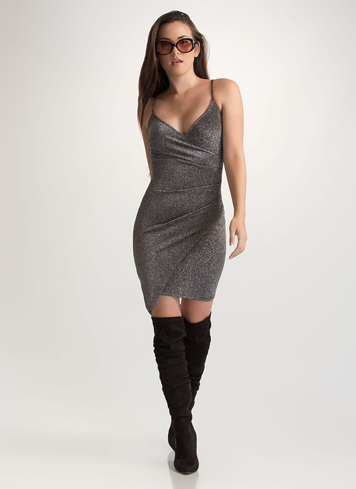Party On Sparkly Wrap Mini Dress SILVER