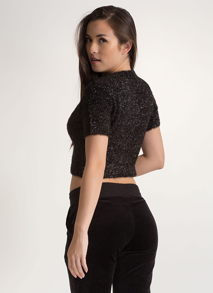 Tinsel Tale Fuzzy Knit Crop Top BLACK