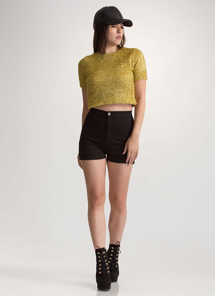 Tinsel Tale Fuzzy Knit Crop Top GOLD