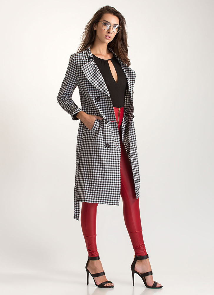 Check In Gingham Trench Coat BLACKWHITE